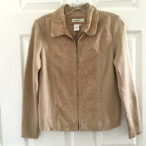 Coldwater Creek Leather and Knit Tan Zip Jacket